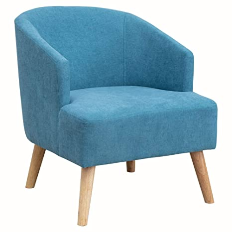 Tremendous Upholstery Modern Design Fabric Accent Chair Loveseat Leisure Small Sofa With Natural Wooden Legs Blue Chair Pdpeps Interior Chair Design Pdpepsorg