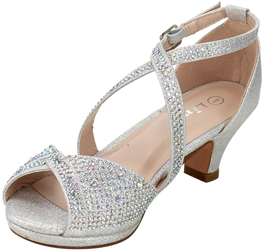 Link Fantastic-90K Girls Rhinestone Criss Cross Ankle Strap Chunk Heel Sandals