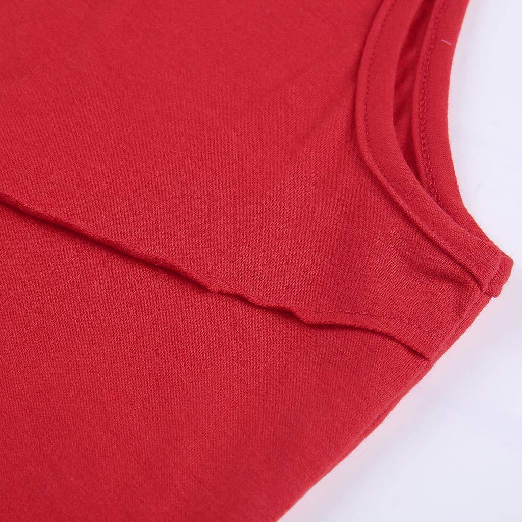 AOJIAN T Shirts for Men, Sleeveless Shirts Hooded Solid Bodybuilding Tunic Blouses Vest Tank Tops Red by AOJIAN (Image #3)