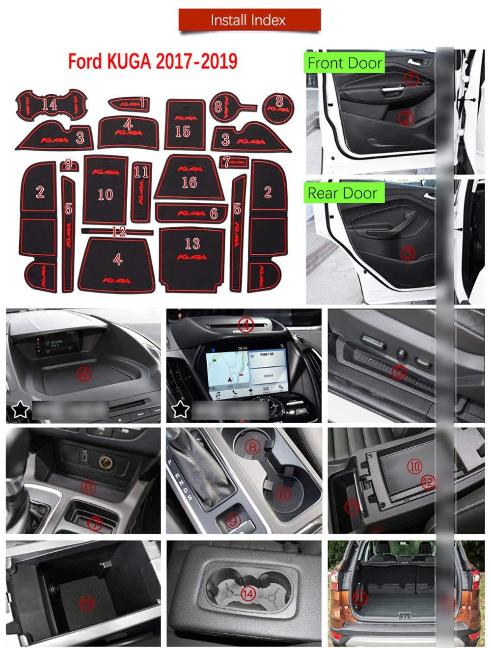 AniFM Slip Door Slot Gummi Latex Slot Innenraum Staubpolster Kissen forFord KUGA 2017 2018 2019 Ford Escape MK2 Auto Aufkleber 21 Pc 1 Set,Blue