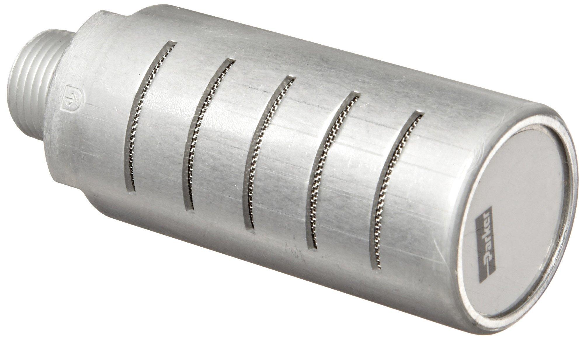 Parker ES50MC Aluminum Exhaust Silencer, 1/2'' NPTF, 549 scfm Flow, 1.26'' Diameter x 3.31'' Length, 250 psi by Parker
