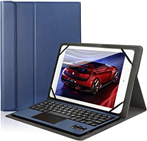 Wireless Bluetooth Keyboard Case with Touchpad Stand Flip Magnetic Leather Cover for Samsung Galaxy Note 10.1 Tablet N8010/ iPad 9.7 2018 / iPad Air 2 / iOS Android Phones