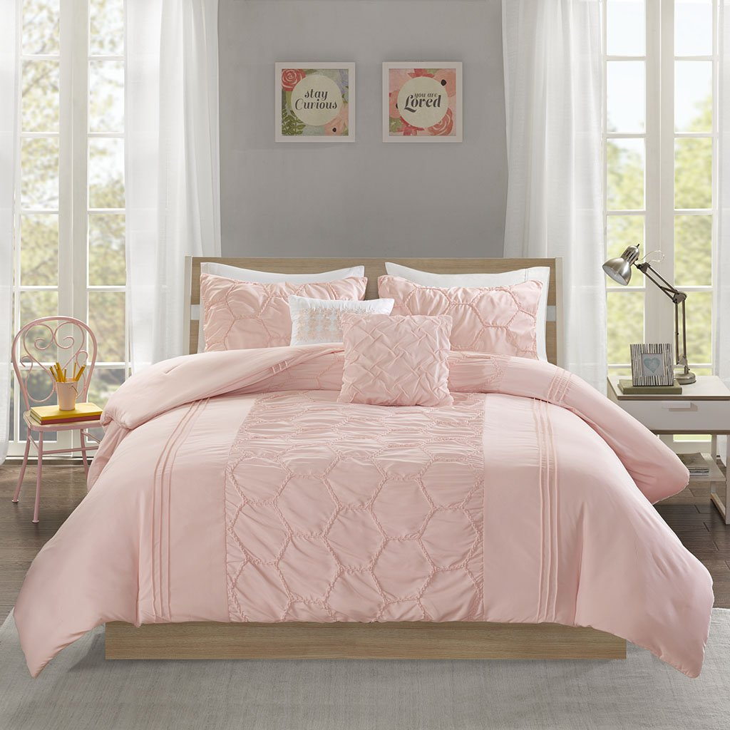 Intelligent Design Carrie Comforter Set Twin/Twin XL Size - Blush, Pleated Elastic Embroidery – 4 Piece Bed Sets – Ultra Soft Microfiber Teen Bedding for Girls Bedroom