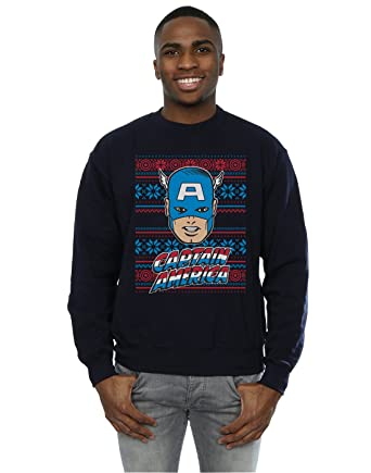 Marvel Herren Captain America Face Fair Isle Sweatshirt