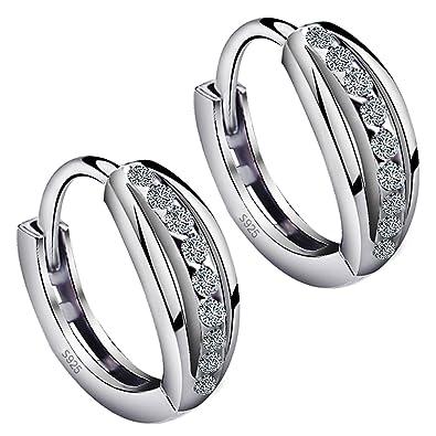 Meixao 925 Sterling Silver Cubic Zirconia Heart Hoop Earrings Studs for Girls/Women J4jtP