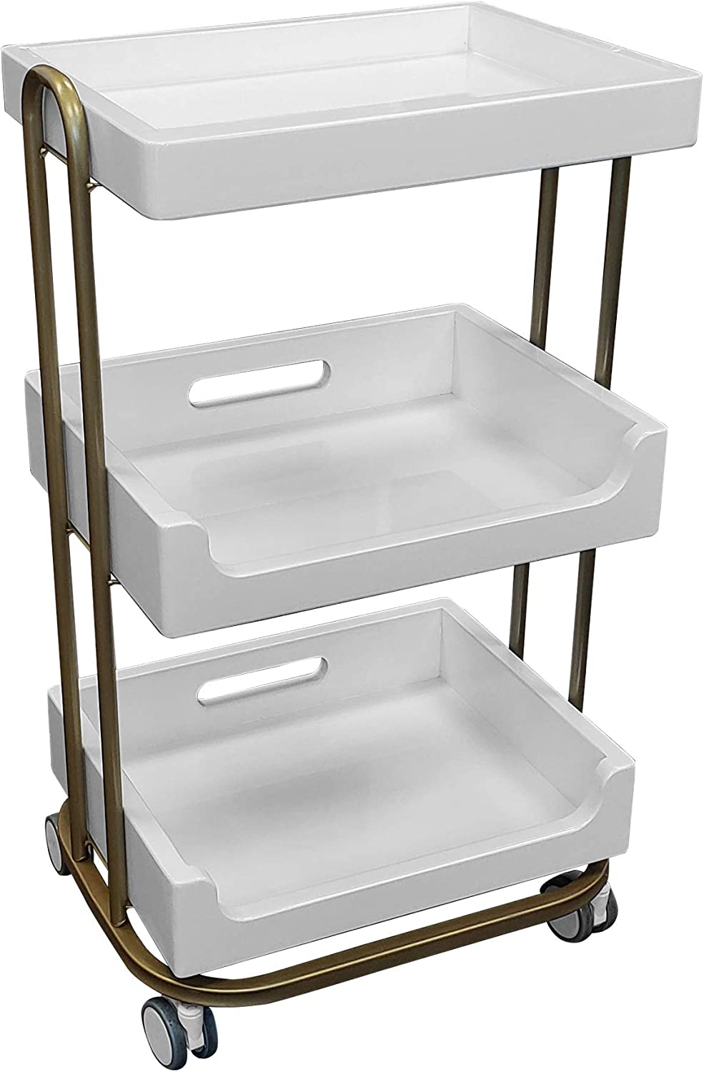 TOA Supply 3 Shelf Wooden Tray Cart White Storage Trolley Rolling Beauty Salon Hair Spa: Home & Kitchen