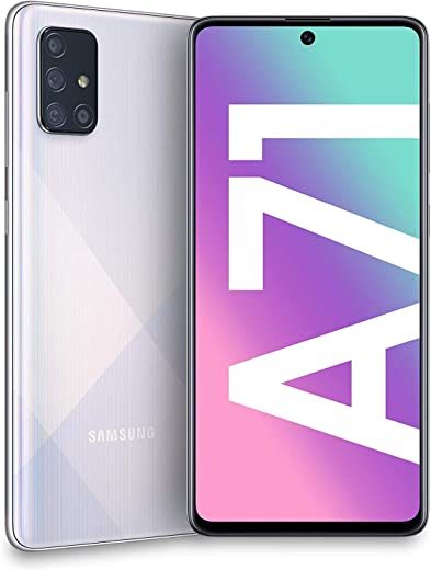 """Samsung Galaxy A71 (128GB, 6GB) 6.7"""", 64MP Quad Camera, 25W Fast Charger, Android 10, GSM Unlocked US + Global 4G LTE International Model A715F (Prism Crush Silver)"""