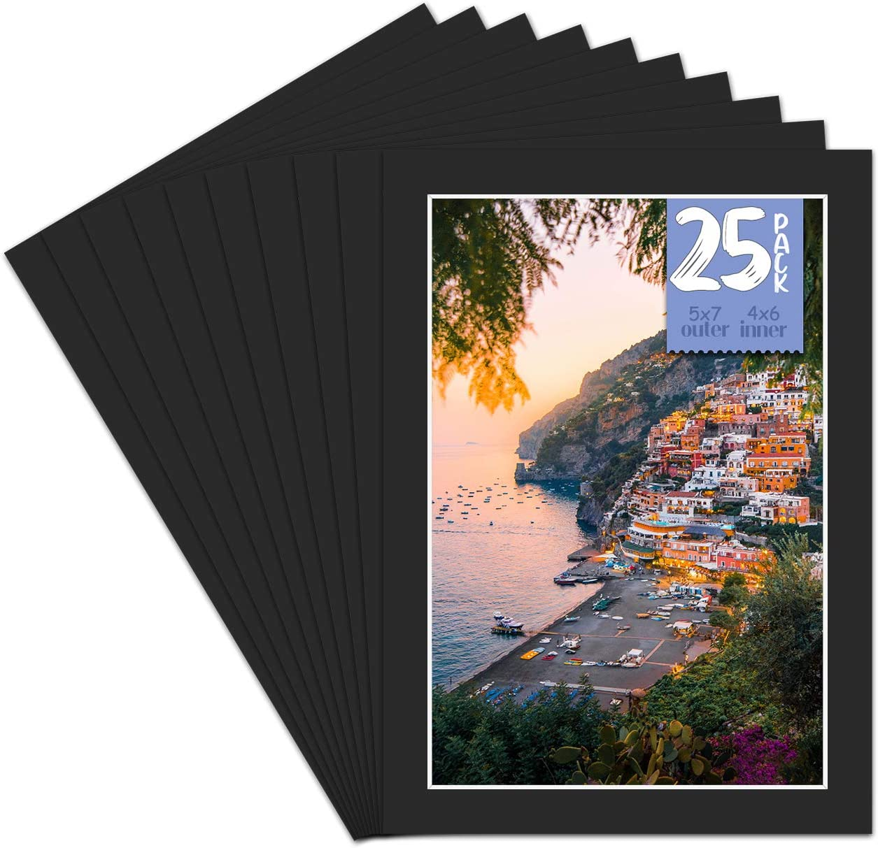 Events Bevel Cut Golden State Art Signature Friendly Black Mat 5x7 for 4x6 4-Ply Thick Prints Mats Only Great for Photos Acid Free Pictures 20-Pack