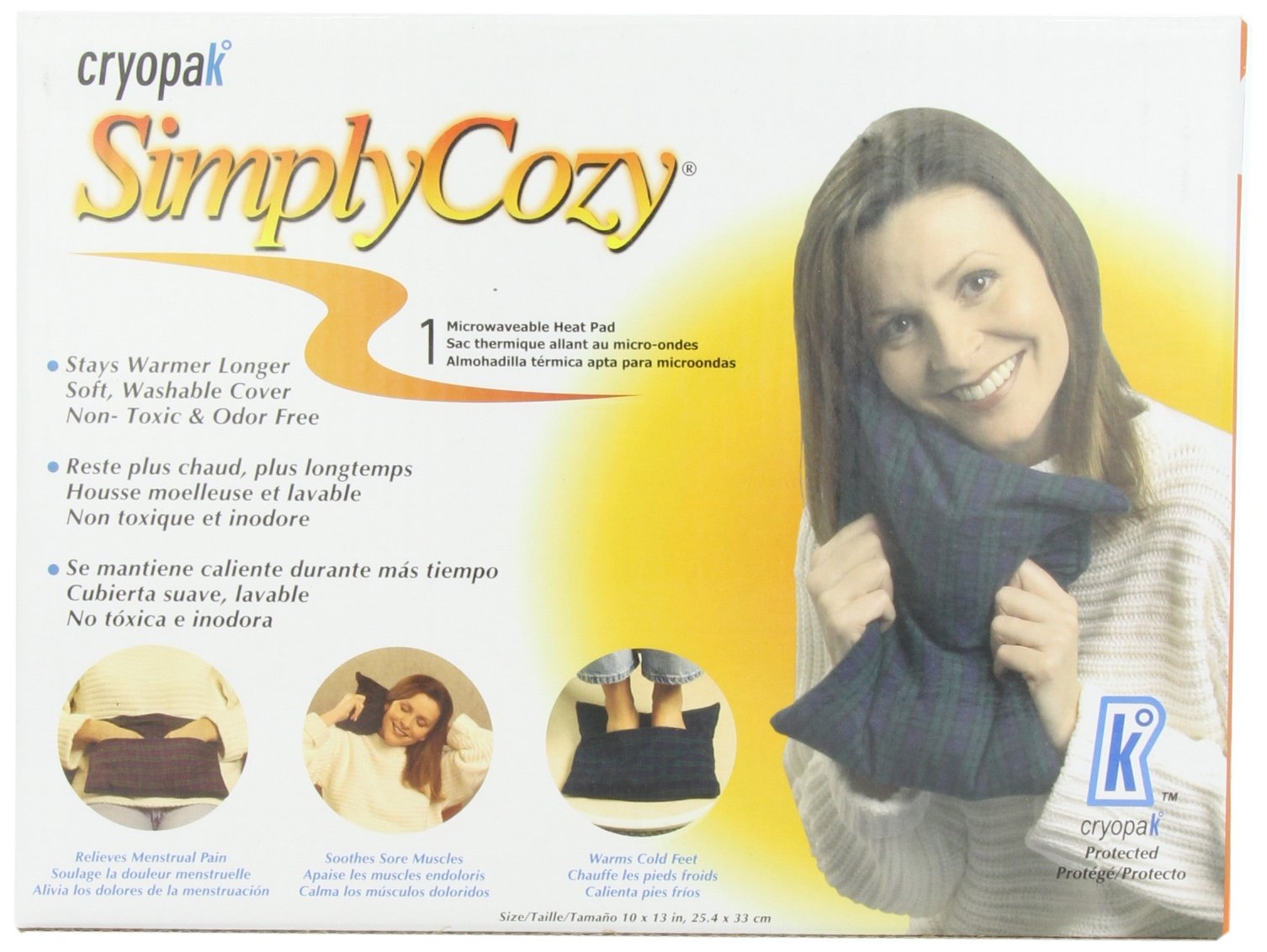 Cryopak Simply Cozy 10 x 13-Inch Microwaveable Heat Pad, 1 Count