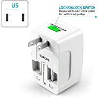 Shivsoft International Travel Plug Adapter Set Multi-Socket Outlet Travel Adapter Plug Charger.-White.