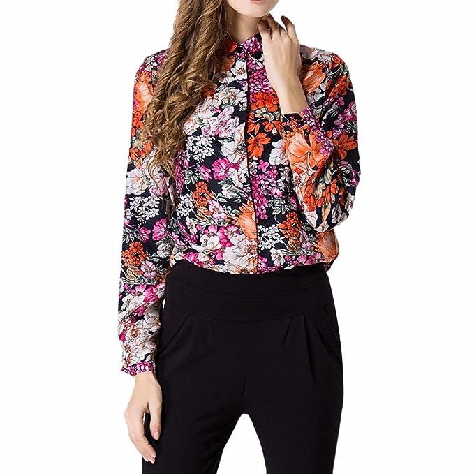 QIYUN.Z Kleine Blumen Gedruckt Frauen Lange Huelse Chiffon- Reverskragen  T-Shirts Shirts 9aa8dbe50f