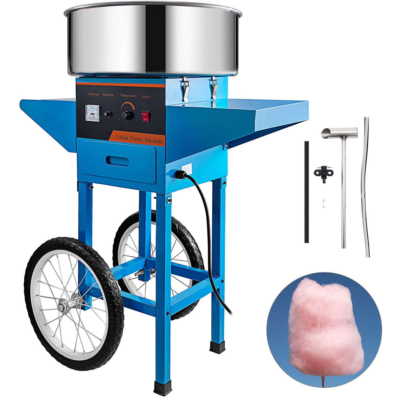 Happybuy Commercial Cotton Candy Machine with Cart Blue 110V Stainless Steel Electric Candy Floss Maker with Cart Perfect for Various Parties