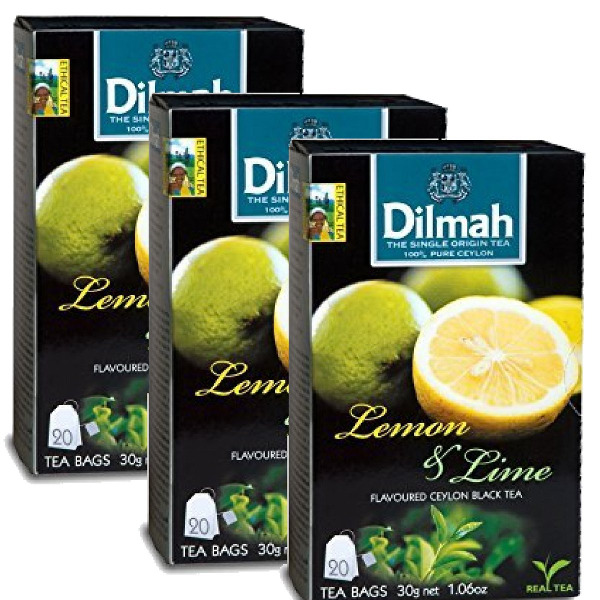 Dilmah Lemon and Lime Flavored Ceylon Black Tea - 20 Tea Bags X 3 Pack - Sri Lanka Ceylon Dilmah Lemon Lime Tea Real Tea