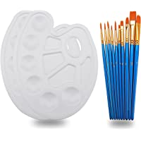 Hundor 10Pieces Round Pointed Tip Nylon Hair Brush Set With 2 Paint Tray Palette