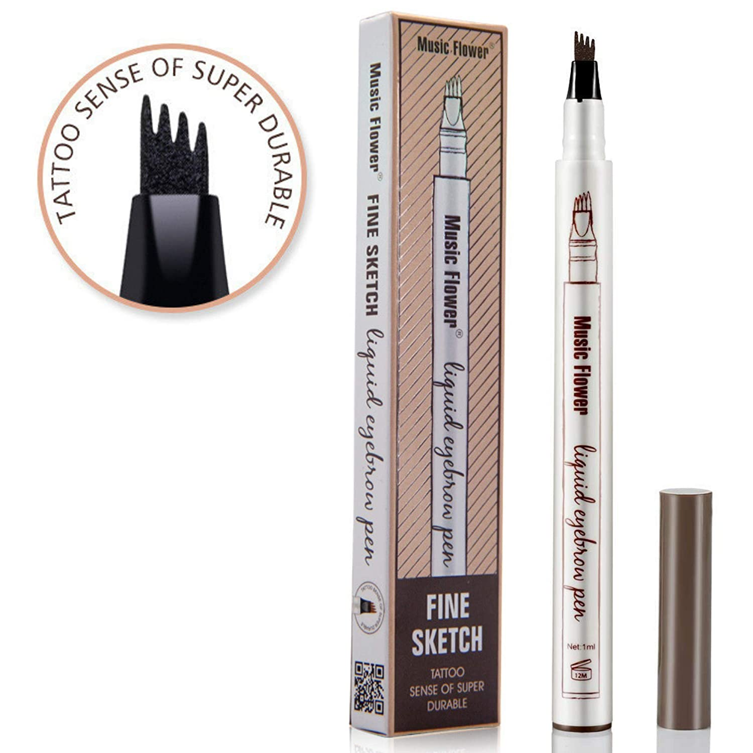 Music Flower liquid eyebrow pencil with four tips brow tattoo pen (Chestnut) Eye See Makeup