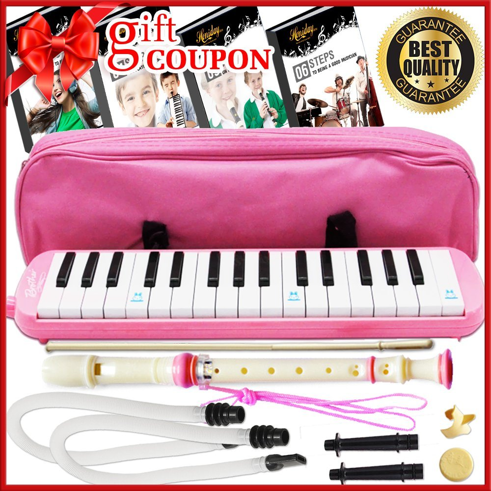 Melodica Keyboard Wind Instrument with Mouthpiece (32-Keys) Beginners Learn to Play Music, Sounds, Songs | Includes Training Ebooks and Soprano Recorder (Pink)