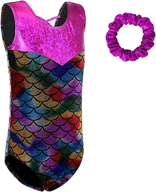 Enicuter Gymnastics Leotards with Shorts for Girls Sparkle Dance Ballet Unitard Activewear 3-7 Years