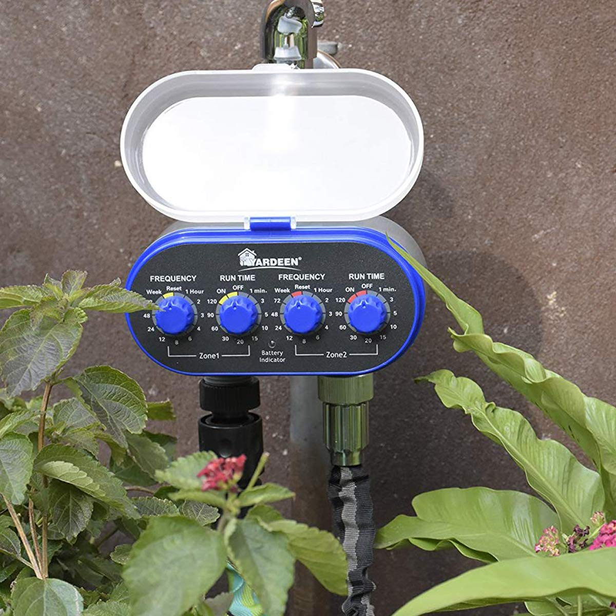 No Water Pressure Required Yardeen Dual Outlet Water Timer Irrigation Controller System