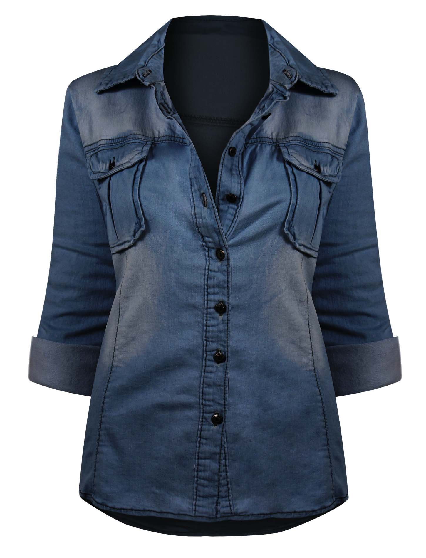 4b8e85349 HOT FROM HOLLYWOOD Women's Button Down Roll up Sleeve Classic Denim Shirt  Tops