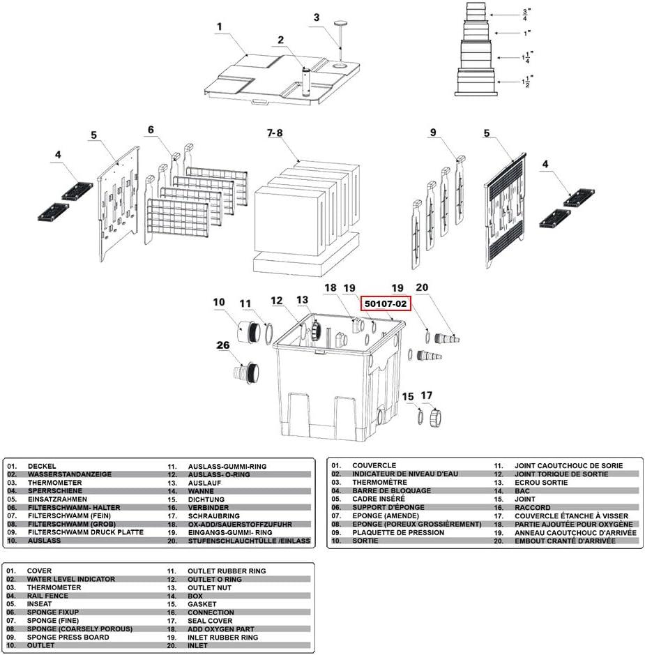 SunSun Ersatzteil Bio Teichfilter CBF-350 Wanne Stufe 1 Geh/äuse Teichfilter