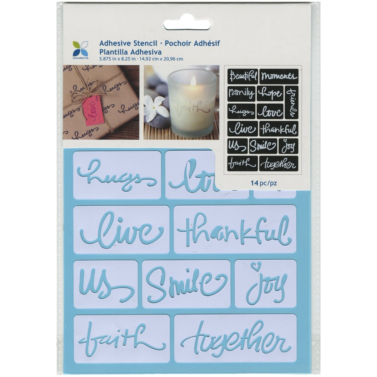 Momenta ST-252-25235 Adhesive Stencil, 6'' by 8'', Beautiful Words by Momenta