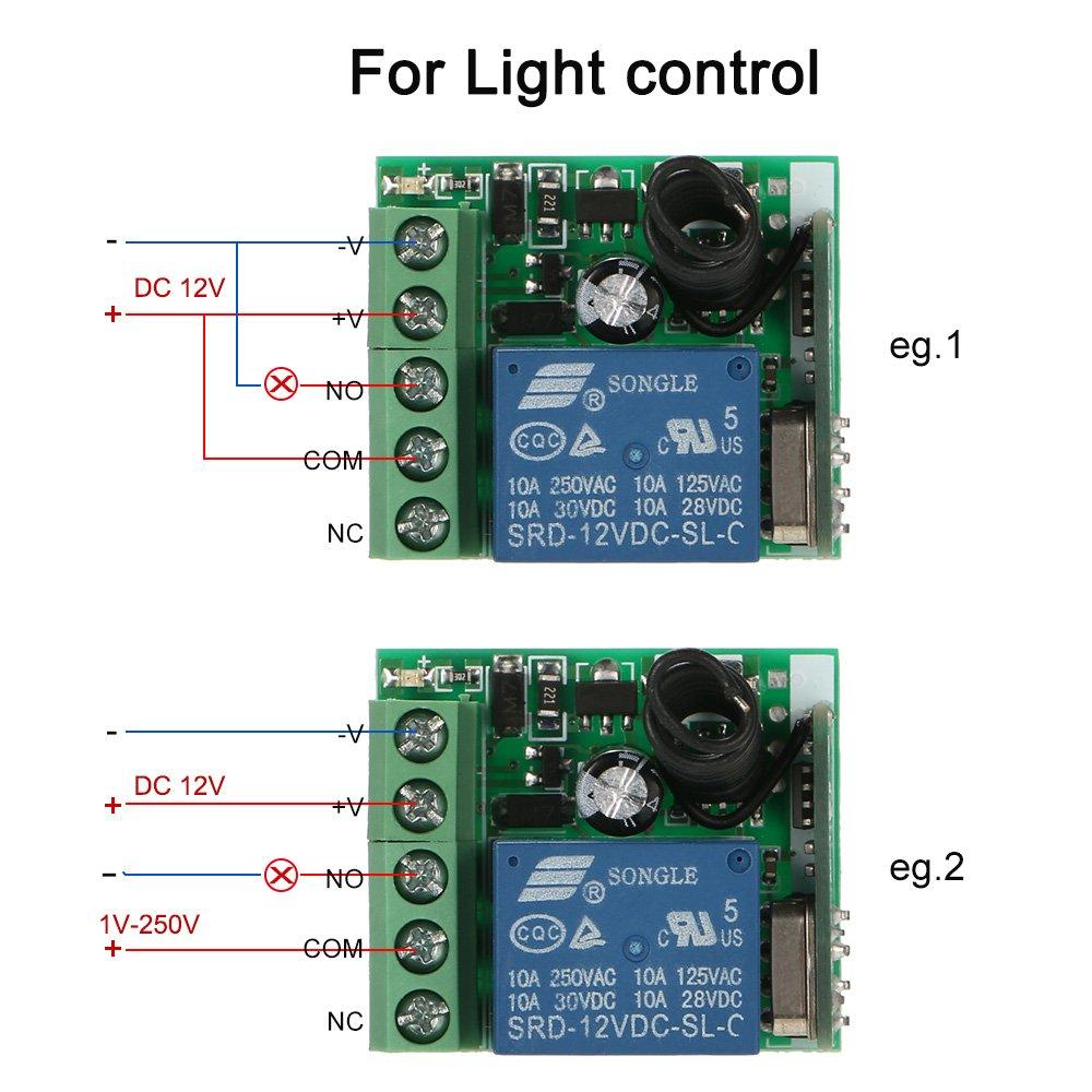1 St/ück OWSOO Empf/änger Sender Universal Fernbedienung Schalter Smart Home 433 MHz DC 12 V 1CH Drahtlose Fernschalter Relais Modul und RF Sender Fernbedienungen 1527
