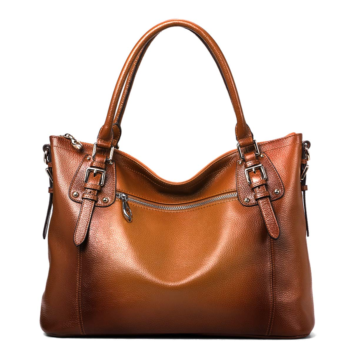 S-ZONE Women's Vintage Genuine Leather Tote Large Shoulder Bag with Outside Pocket (Large, Dark Brown) by S-ZONE (Image #3)