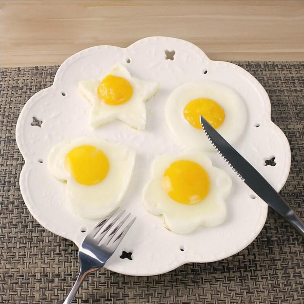 Fried Egg Shaper Mold, Vangoddy Stainless Steel Egg Mould Cooking Kitchen Tools for Kids and Lovers (4 Pack (Round, Star, Heart, Flower)) by Vangoddy (Image #3)