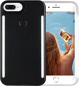 Wellerly iPhone 8 Plus Case, iPhone 7 Plus Case, iPhone 6/6s Plus Case, LED Illuminated Selfie Light Up [Rechargeable] Luminous Flashlight Cellphone Case Cover for iPhone 8/7 / 6/6s Plus (Black)