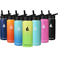 HYDRO CELL Stainless Steel Water Bottle w/Straw & Wide Mouth Lids (40oz 32oz 24oz 18oz) - Keeps Liquids Hot or Cold with…