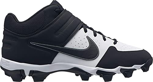 Nike Mens Alpha Huarache Varsity Keystone Mid Baseball Cleats (White/Black, 7.5 M