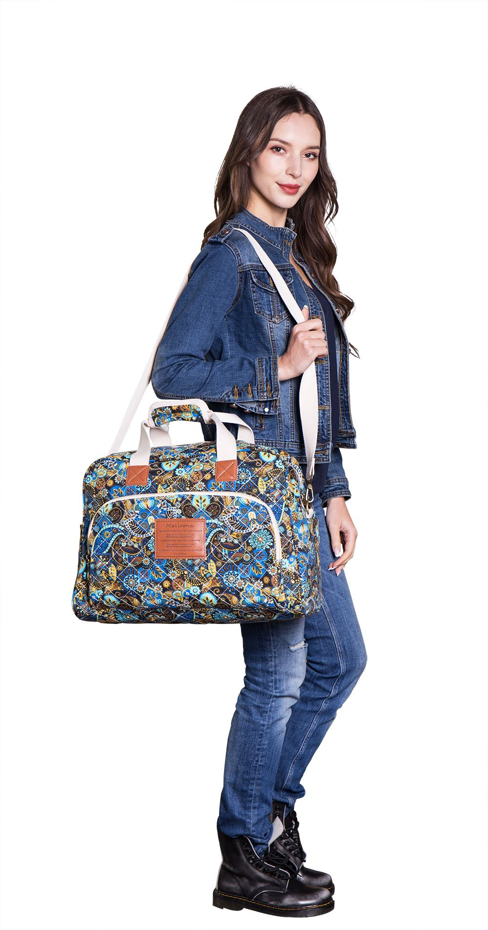Malirona Canvas Overnight Bag Women Weekender Bag Carry On Travel Duffel Bag Floral (Black Flower) by Malirona (Image #7)