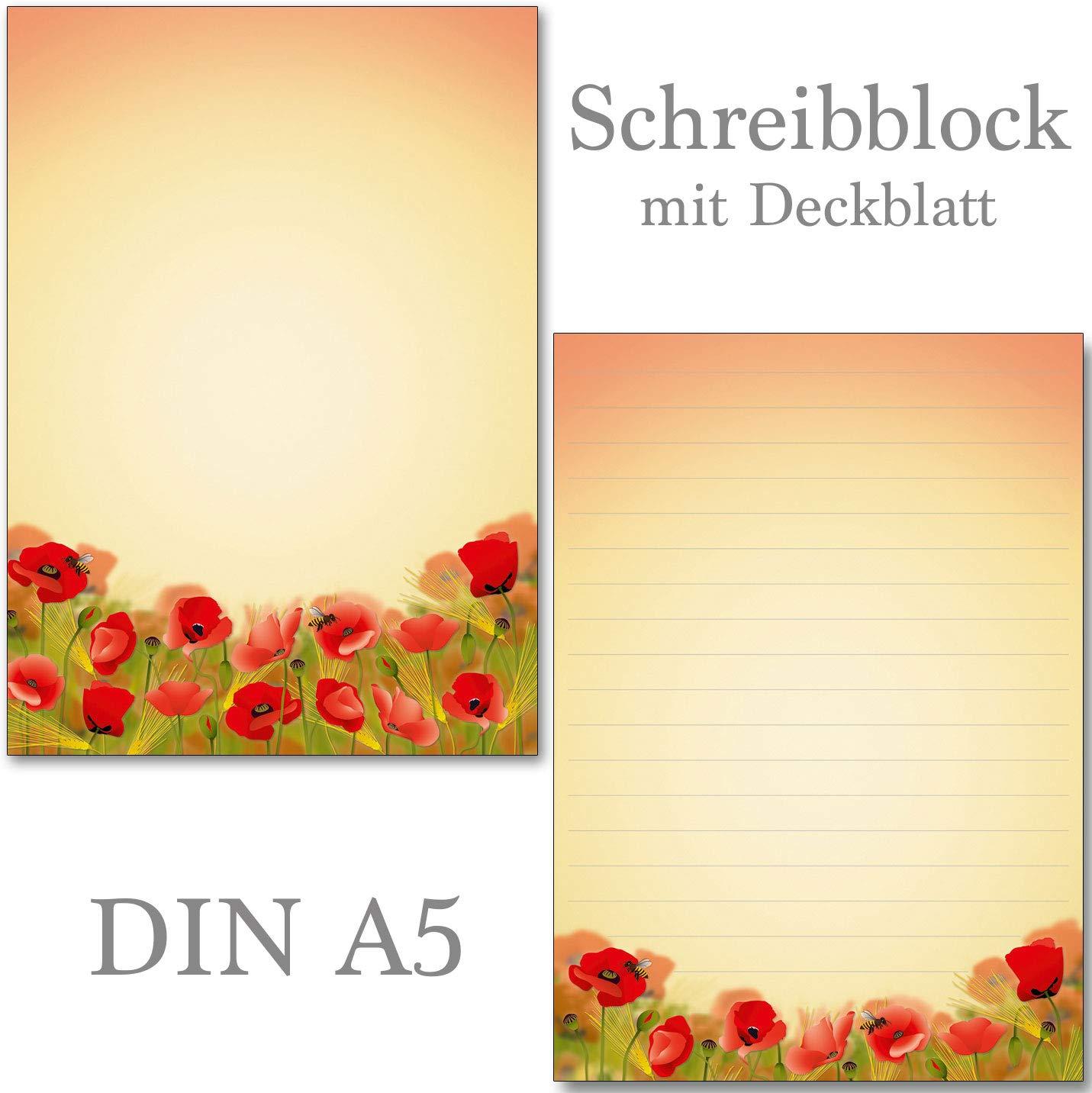 Schreibblö cke schö ne Mohnblumen/Klatschmohn 50 Blatt Format DIN A5 mit Deckblatt 7480 (2 Blö cke) Konzept-G