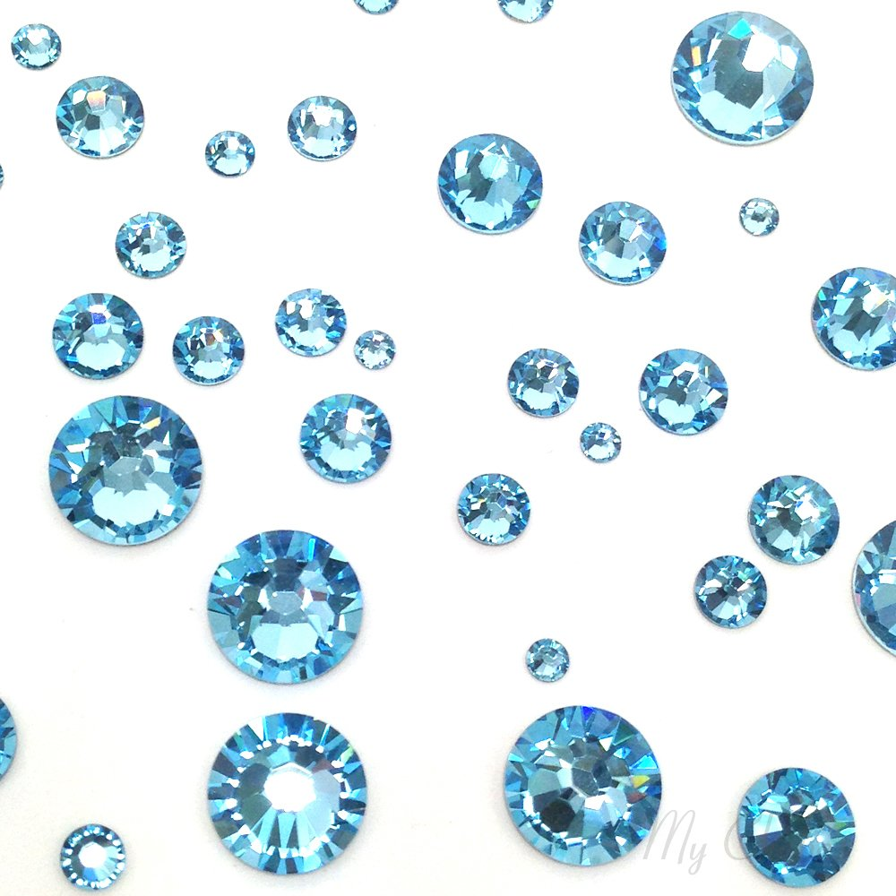AQUAMARINE (202) lake blue 144 pcs Swarovski 2058/2088 Crystal Flatbacks lake blue rhinestones nail art mixed with Sizes ss5, ss7, ss9, ss12, ss16, ss20, ss30