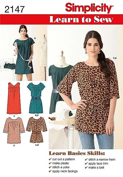 c557fe51aa8e5f Amazon.com: Simplicity Learn To Sew Tunic, Mini Dress, and Belt ...
