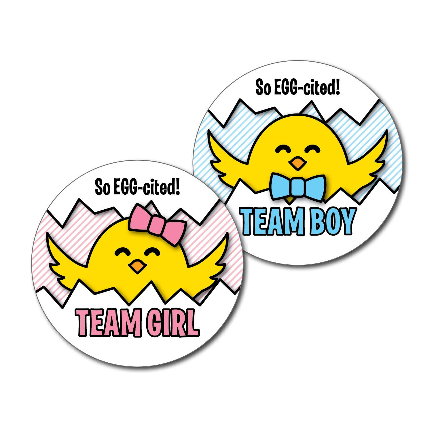 2.5'' Set of 36 Chick Stickers - So Egg-cited - Team Boy, Team Girl Gender Reveal Party - Woodland Fall Easter Spring - Pink & Blue