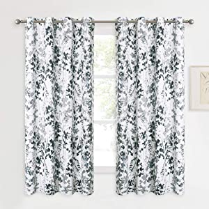 KGORGE Grey Room Darkening Curtain - Printed Exclusive Art Gallery / Exhibition Center Decoration with Casual Watercolor Floral Pattern, Thick Window Drapes for Sun Blocking (52W x 63L, Set of 2)