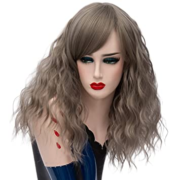 Amazon.com: Alacos 45CM Short Curly Lolita Harajuku Christmas Party Costumes Cosplay Wigs for Women +Free Wig Cap (Dark Gray): Beauty