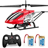 JJRC Helicopter with Remoter Control, JX01 3.5CH Rc Helicopter Altitude Hold Helicopter with 2 Batteries for Kids,Gryo 2.4GHz and LED Light for RTF Crash Resistance Helicopter RC Drone Toy Gift (red)