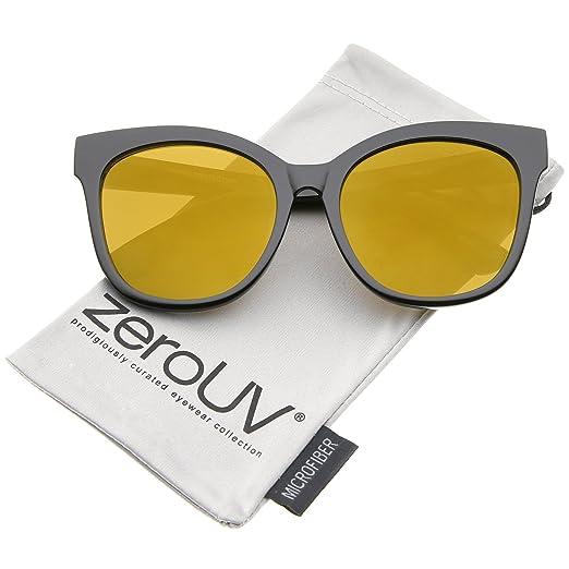 fa905d2e6197b zeroUV - Women s Horn Rimmed Color Mirror Flat Lens Oversize Cat Eye  Sunglasses 57mm (Black