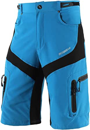 BERGRISAR Men's Cycling Shorts MTB Mountain Bike Bicycle Shorts Zipper Pockets 1806BG