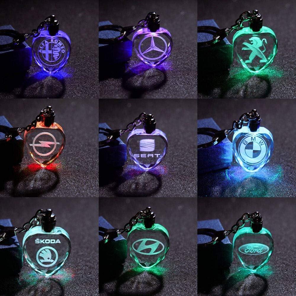 Fitracker Auto Logo LED Schl/üsselanh/änger Crystal Light 7 Farben /Ändern Auto Schl/üsselanh/änger mit Geschenkbox