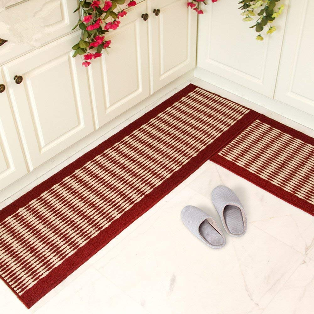 Buy Tealp Kitchen Rug Set Kitchen Floor Rug Washable Floor Runner Stripe Pattern Floor Runner Rugs Non Slip Washable Bath Mats Water Absorption Toilet Rugs Red Online At Low Prices In India