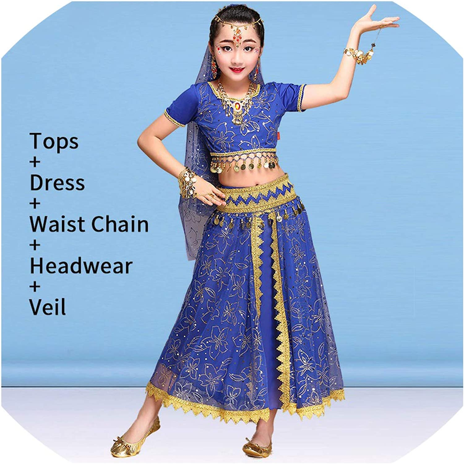 Girls Kid Indian Belly Dance Costume Outfit Top Skirts Set Children Dancing Wear