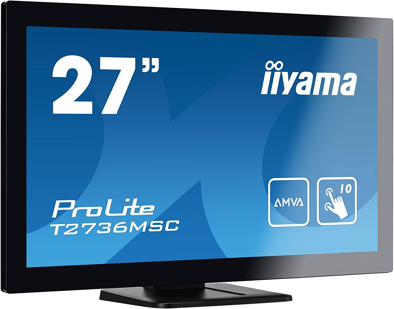 "liyama ProLite T2736MSC-B1 68,6 cm (27"" "") AMVA LED-Monitor Full-HD 10 Punkt Multitouch Capacitivo (VGA, HDMI, USB 3.0, Glare) Nero"