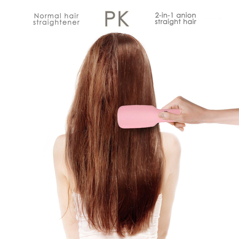 rantizon 3-in-1 anión pelo cabello cepillo eléctrico PTC calefacción plancha de pelo alisado de Peine Plancha de pelo peine cepillo 5 ajustes de calor para ...