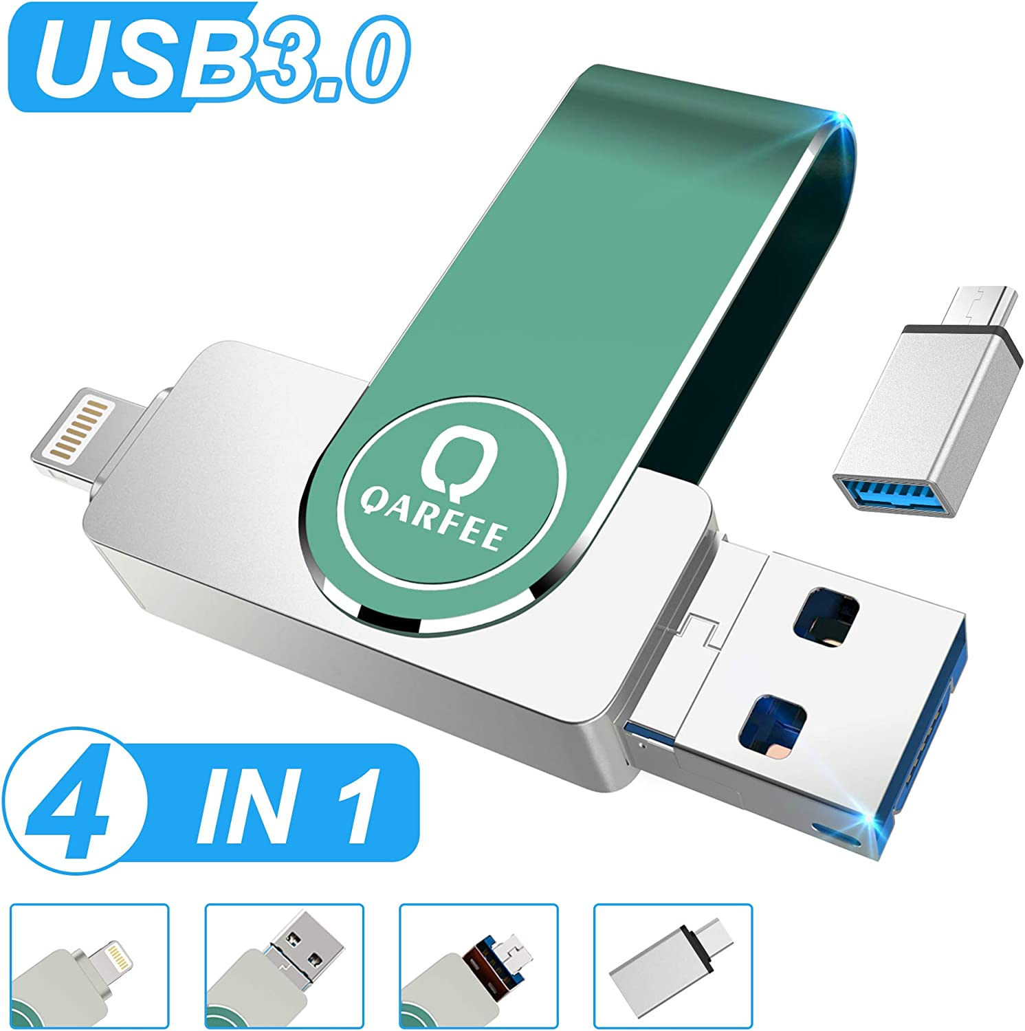 Flash Drive for iPhone Photo Stick 128GB for iPhone Thumb Drive USB 3.0 Compatible iPhone//iPad//Android Backup OTG Smart Phone Qarfee Silver External Storage Memory Stick Photostick Mobile
