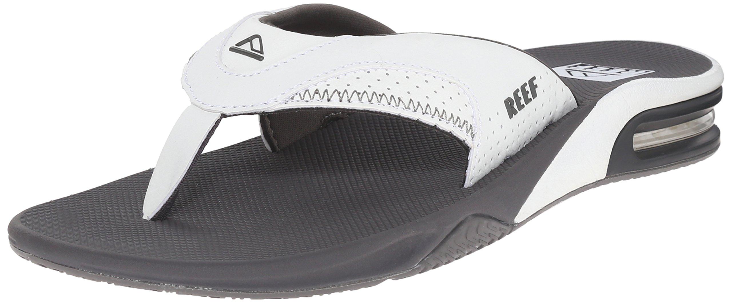 Reef Men's Fanning Sandal, Grey/White, 12 M US