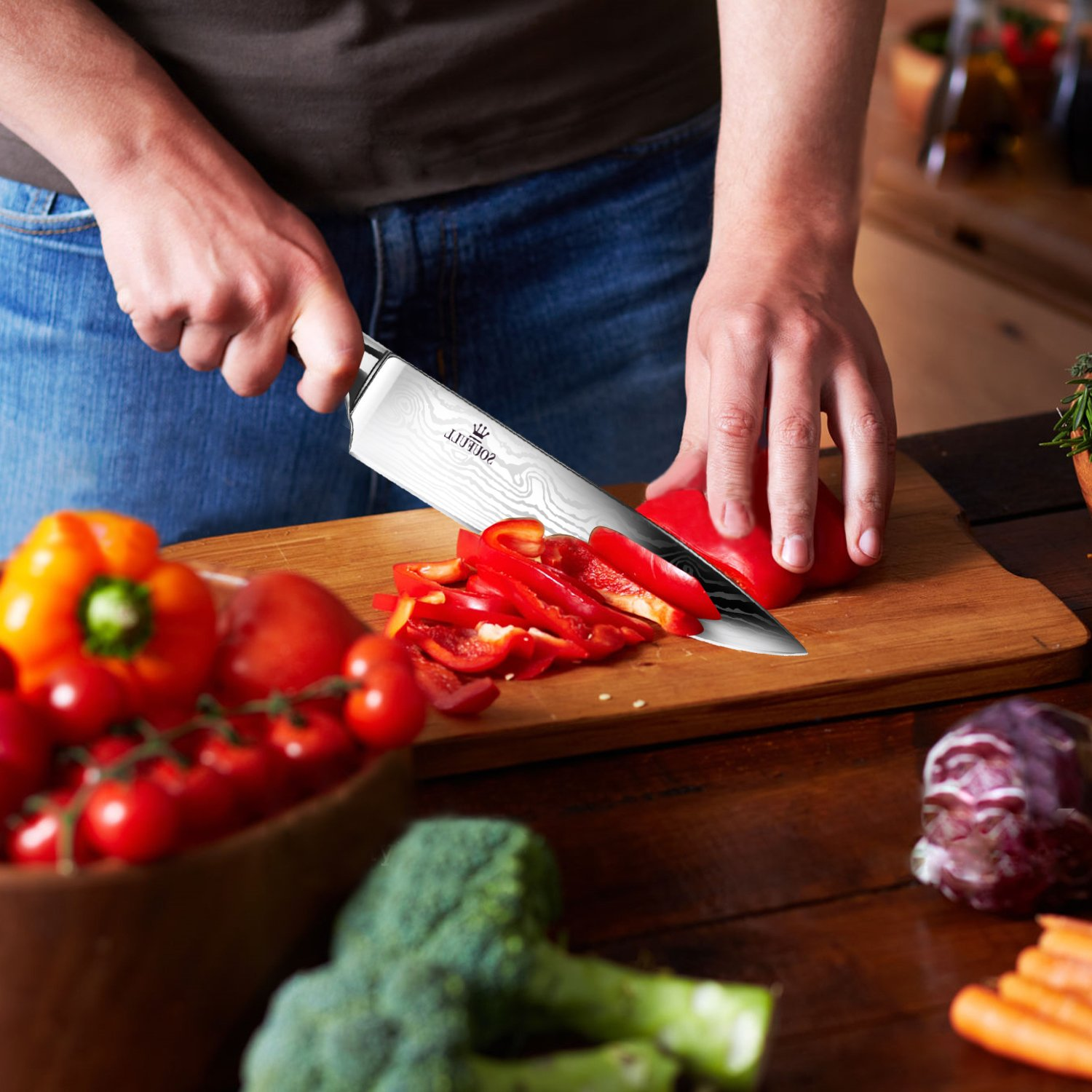Soufull Chef Knife 8 inches Japanese Stainless Steel Gyutou Knife Professional Kitchen Knife with Ergonomic Handle by Soufull (Image #6)