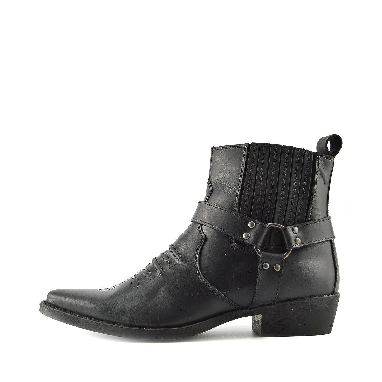 Mens Cowboy Leather Ankle Boots Biker Boots 47 EU|Negro